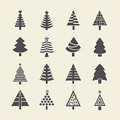 Abstract silhouette Christmas tree icons set