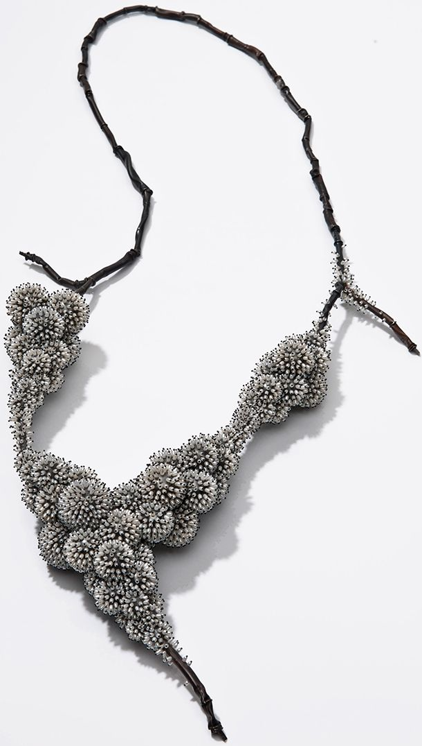 Pearls: About the Exhibition - Victoria and Albert Museum. 'Frozen' by Sam Tho Duong. Silver, nylon, freshwater pearls. 2011. The Qatar Museums Authority Collection Photo © Petra Jaschke
