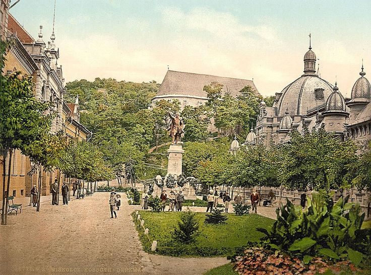Kossuth Statue in Miskolc - old postcard from the USA National Library