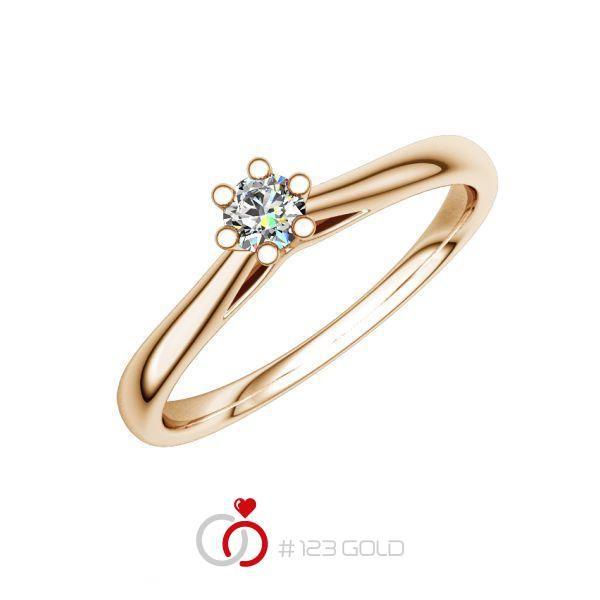 Verlobungsring Diamantring 6 Krappen, Zungenschiene- Legierung: Rotgold 585/- - Steinbesatz: 1 Brillant 0,08 ct. w, si
