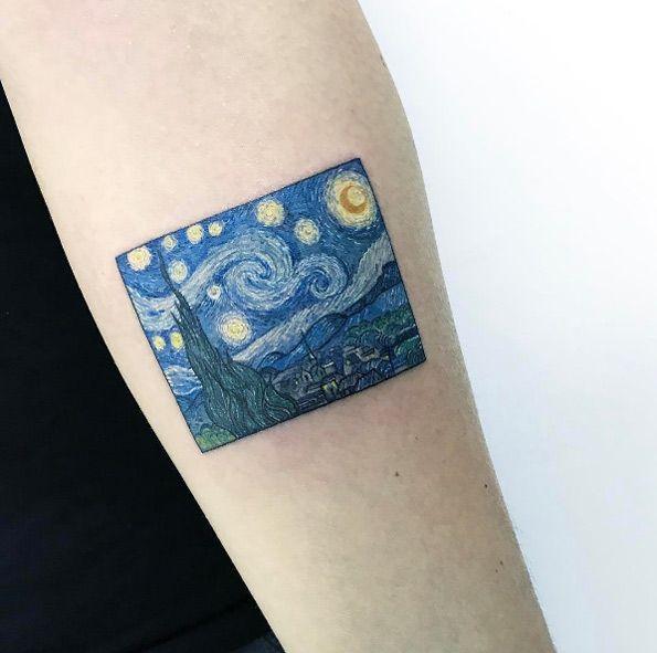 Starry Night tattoo by Eva Krbdk