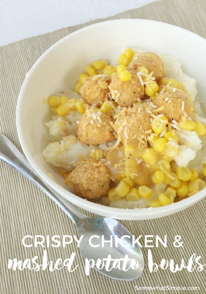Chicken and Mashed Potato Bowls - Somewhat Simple