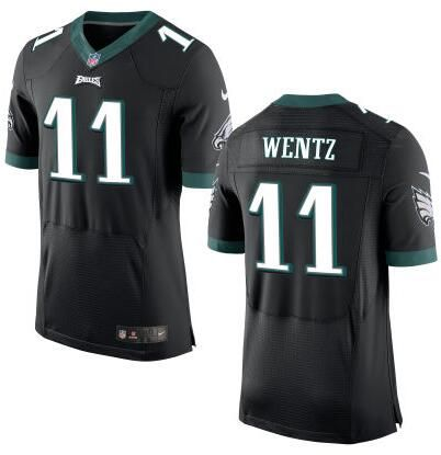 Men's Philadelphia Eagles #11 Carson Wentz Nike Black Elite 2016 Draft Pick Jersey