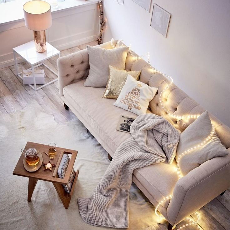 Rope lights for the holidays are perfect for any apartment decor!