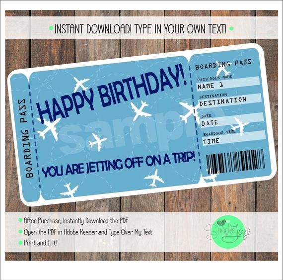 Printable Birthday Surprise Vacation Trip Boarding Pass Ticket Etsy Surprise Vacation Surprise Trip Reveal Surprise Birthday Trip