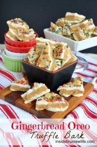 Gingerbread Oreo Truffle Bark - white chocolate layered with gingerbread oreo truffle dough #oreo #gingerbread http://www.insidebrucrewlife.com