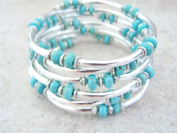 Something like this but with neutral stones - Silver Tubed Memory Wire Bracelet, Stack Bracelet Turquoise Color Cuff by Feralspassage
