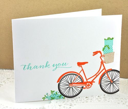 Pedal Pusher Revisited: Thank You Card by Dawn McVey for Papertrey Ink (February 2016)