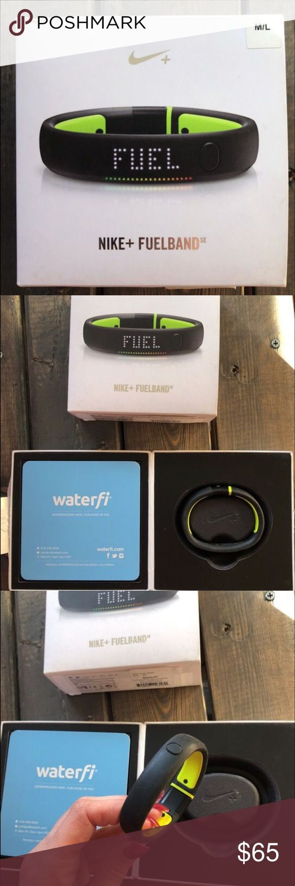 Nike Fuelband- waterproof Waterproof Nike fuel band with extra links to make Small's for bigger depending on wrist size. Plugs into any computer with USB port. Used for about a week and then I got an iwatch series 1. Perfect condition! Originally purchased for $299. Best offer.  Download Nike fuel band app. Nike Other