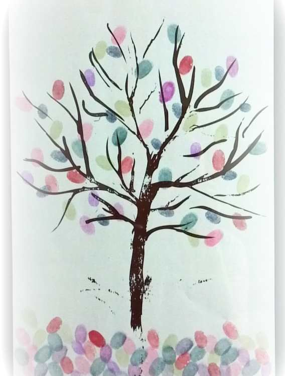 Thumbprint Guest Book Ideas - Super Cute!     #wedding. Also great for a family reunion to show off your family tree. Write names with a sharpie beside the thumbprint.