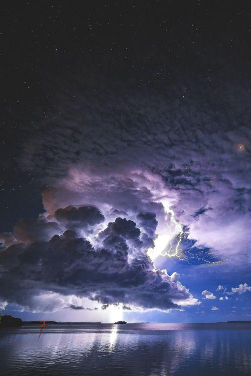 lsleofskye:  Lightning over the many small keys south of...