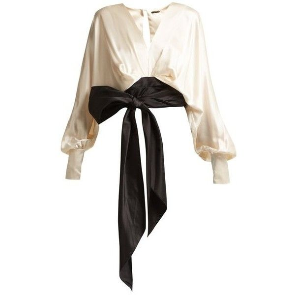 Johanna Ortiz Tie-waist silk blouse ($1,090) ❤ liked on Polyvore featuring tops, blouses, white black, white blouse, crop blouse, cream blouse, white evening blouses and balloon sleeve blouse