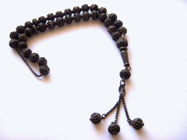 ANTIQUE SOLID STERLING SILVER ISLAMIC WORRY PRAYER BEADS ROSARY 19th C. 35 grams
