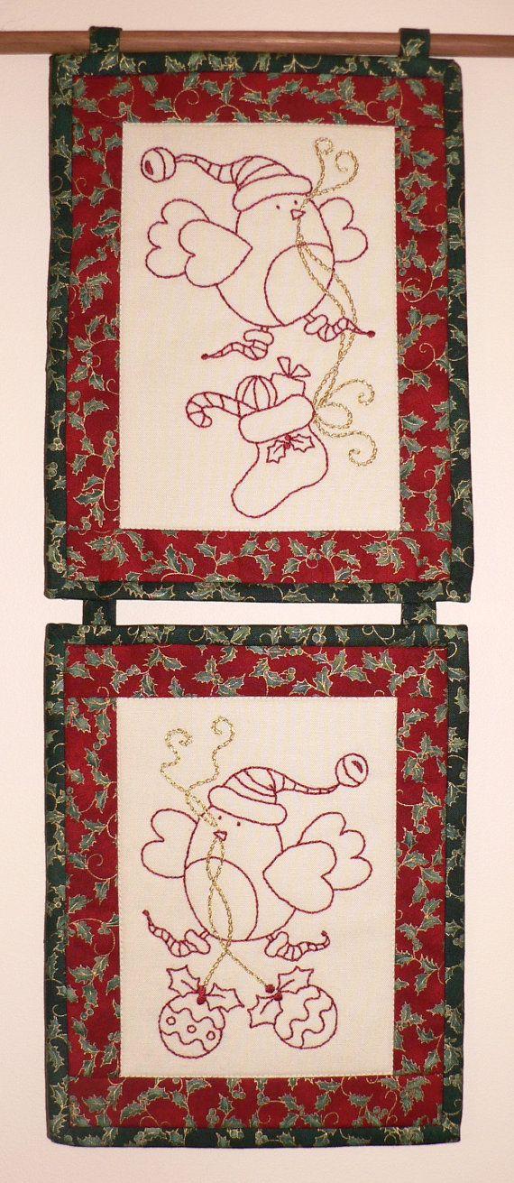 Christmas Tweets Pre-printed Stitchery Pack