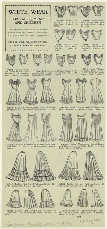 1905 underthings- petticoats, shift, corsets :)