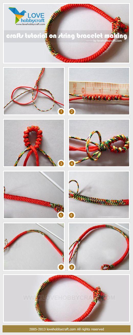 Crafts tutorial on string bracelet making