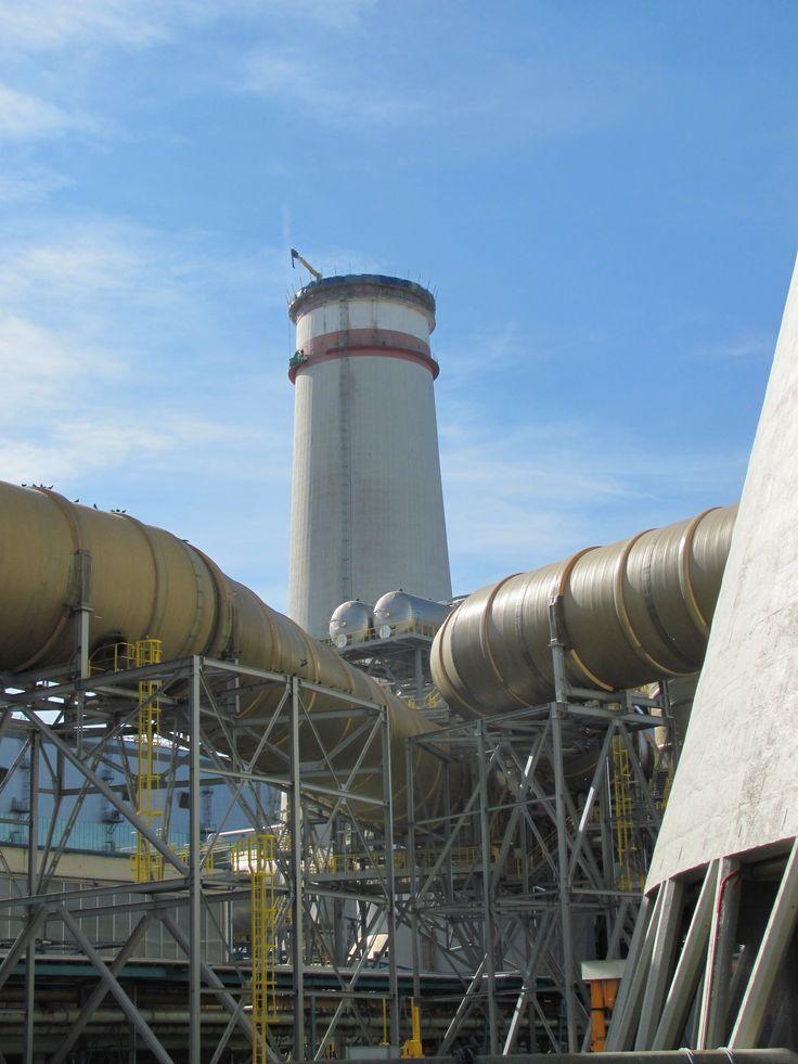 Breaking down the chimney - coal power Tusimice, Czech Republic