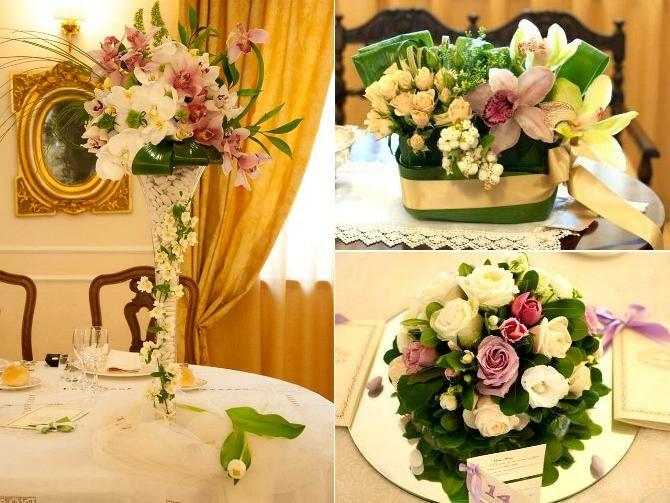 Nella location del ricevimento di nozze non possono mancare i fiori a dare un tocco di raffinata eleganza, disposti in modo ordinato sui tavoli... #Allestimenti #Floreali tavoli #Matrimonio