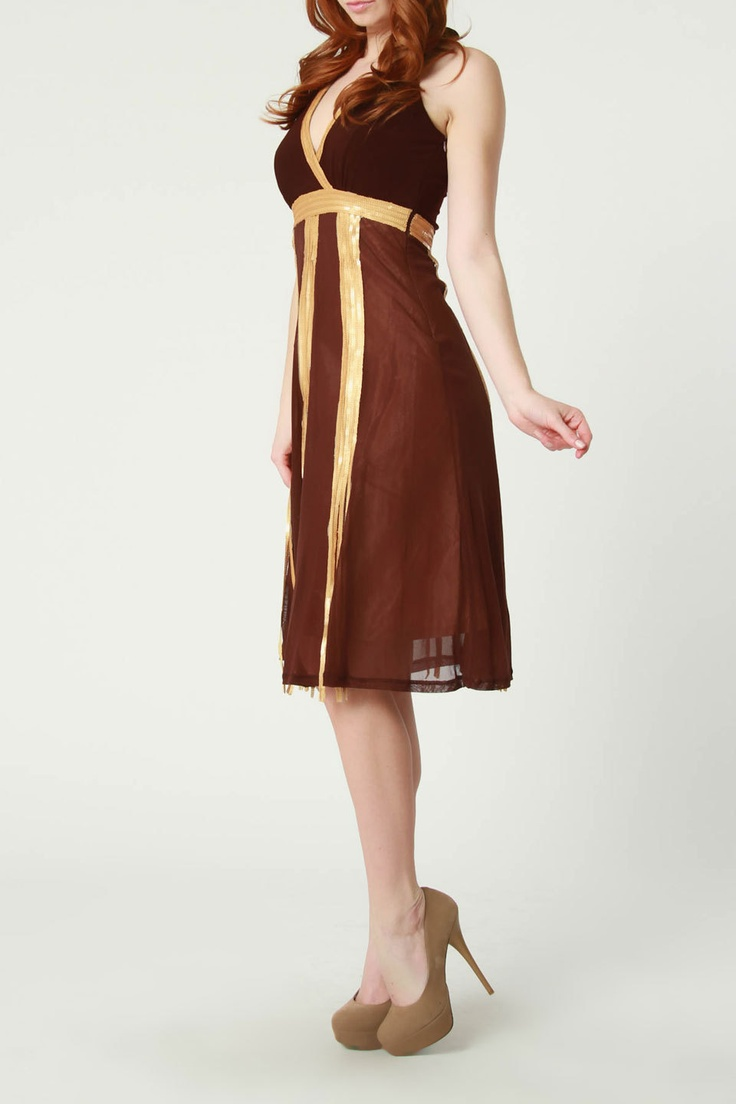 Ariella Sequin Trim Halter Dress In Brown With Gold Sequins Lovely Clothing And Style