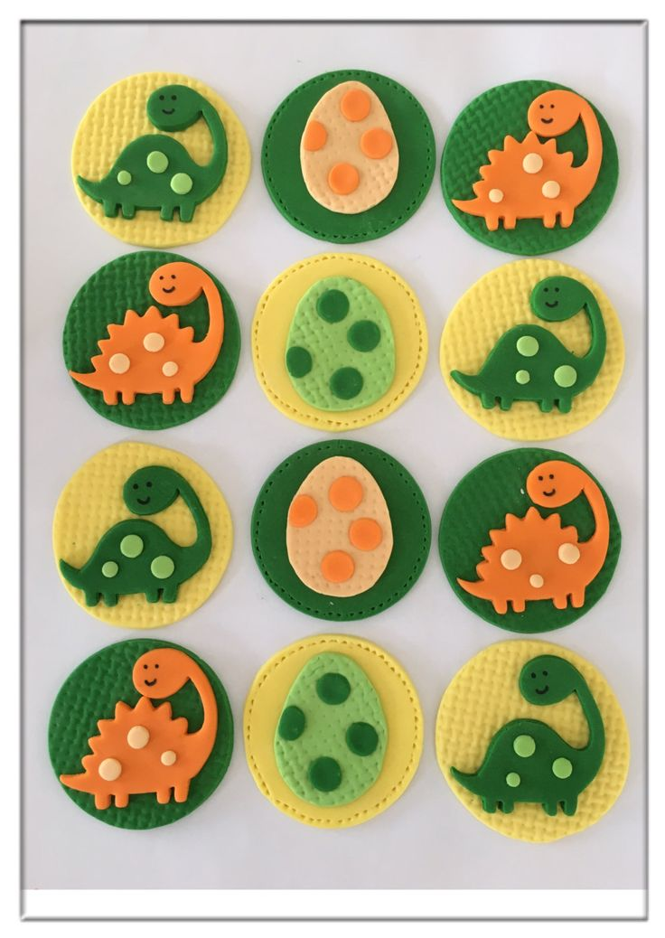 Set of 12 Dinosaur Cupcake Toppers by SugaryLand on Etsy