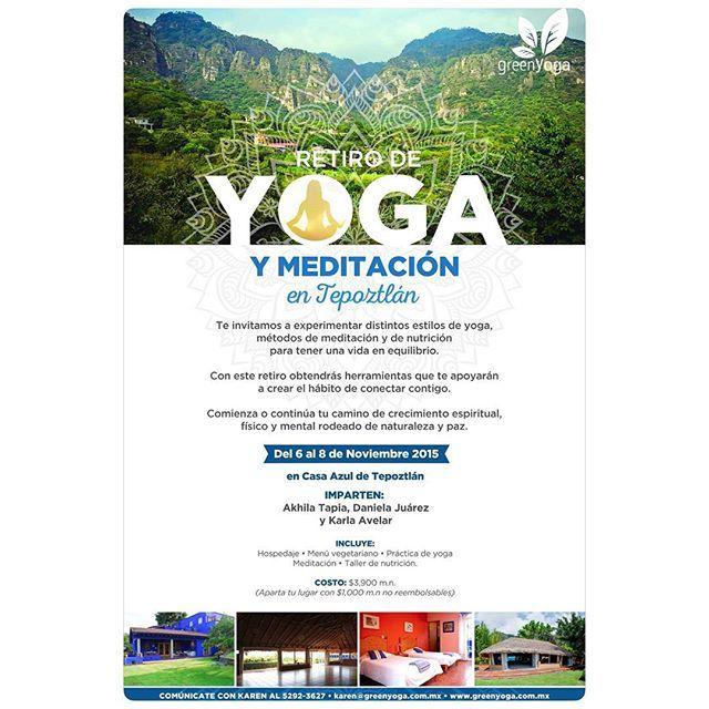 No se pierdan este increíble retiro que tendremos en Tepoztlán. 6 al 8 de noviembre de 2015  Todo incluido por $3,900 Hospedaje Yoga con @bodhiakhila Y @danielajkelly Menú vegetariano Meditación con @bodhiakhila Taller de nutrición con @healthcoach.mx  #tepoztlan #yoga #meditacion #retirodeyoga #yogaretreat #meditation #osho #retiro #relax #zen #instazen #yogaenmexico #yogaeverydamnday #yogaweekend #tallerdenutricion #healthy #saludable #pazmental #relajación #descansomerecido