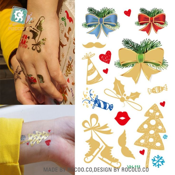 Body art waterproof temporary tattoos for women and men Christmas gift design gl…