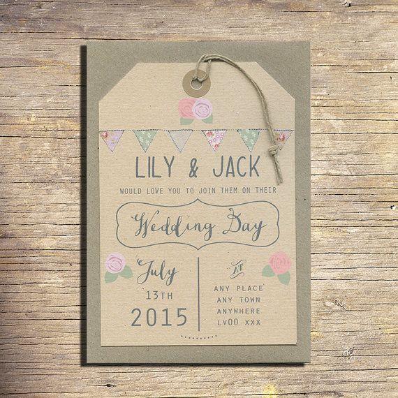 25 Country Wedding Invitations, Wedding Stationery, Outdoor Wedding, Modern  Wedding, Bunting On