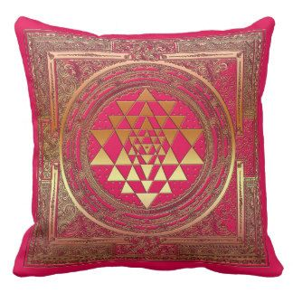throw pillow yantra pink gold mandala yoga india