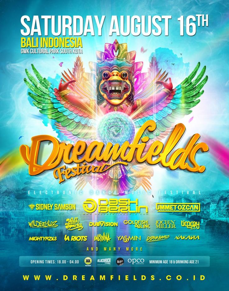 The fastest growing EDM festival of Holland is coming to Asia. On saturday the 16th of August, #Dreamfields EDM Festival Indonesia is held on the beautiful grounds of GWK Park in South Kuta Bali.  For Tickets & Info go to: http://dreamfields.co.id/  Facebook event: https://www.facebook.com/events/1397775763842464/?context=create&source=49