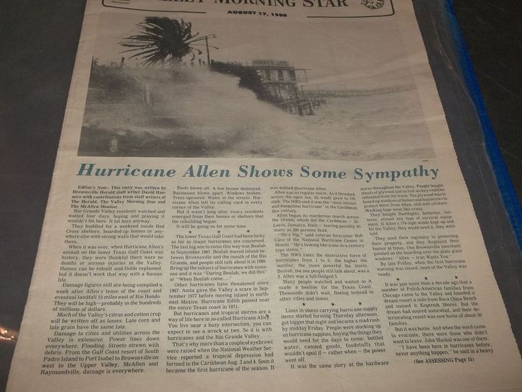 Vintage valley Morning Star Hurricane Allen Special edition 1980 Pictures Story