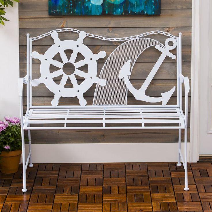 Howell Coastal Metal Garden Bench