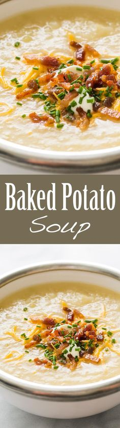Baked Potato Soup ~ Love loaded baked potatoes? Then you'll love this baked potato soup, with classic toppings of crispy bacon, sour cream, chives, and cheddar ~ http://SimplyRecipes.com (Crispy Baking Salmon)