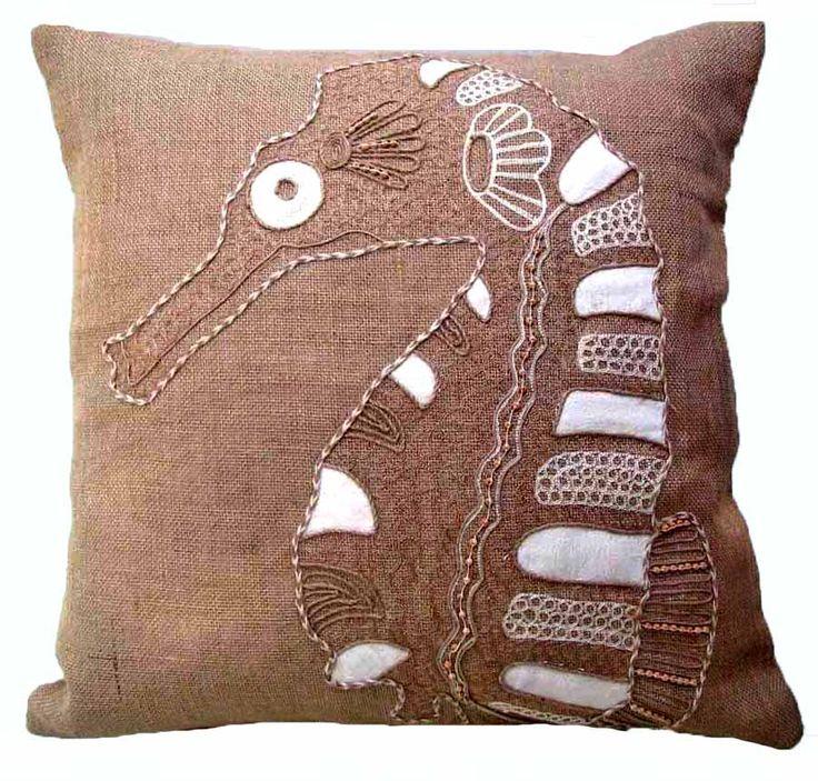 coastal burlap octopus down filled pillow coastal burlap seahorse down