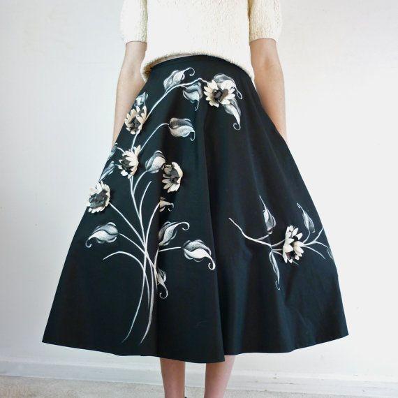 1950s Circle Skirt / Floral Rockabilly / 50s by jessjamesjake, $115.00