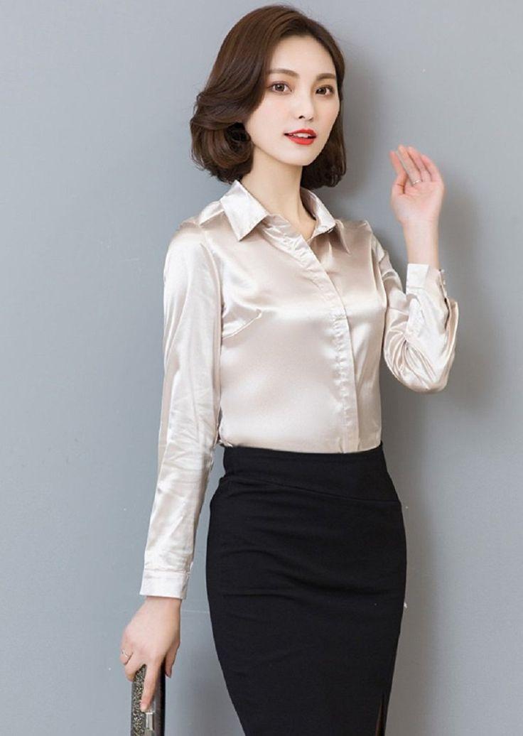 Amazon | (ネッグ) NEG サテン 素材 長袖 シャツ ブラウス トップス レディース | シャツ・ブラウス 通販