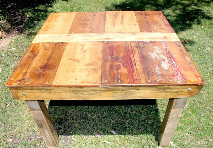 Reclaimed wood top.