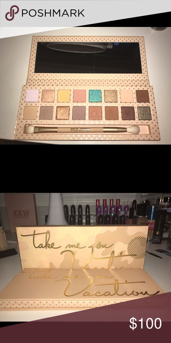 Kylie Jenner cosmetics-Take me on vacation palette Kylie Jenner cosmetics- Take me on vacation palette. Only did swatches with a brush. Beautiful palette! It's completely sold out on Kylie's website!! Kylie Cosmetics Makeup Eyeshadow