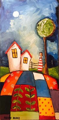 "Susan Bence, Patchwork Lady : Oil, 24"" x 12"" SOLD"