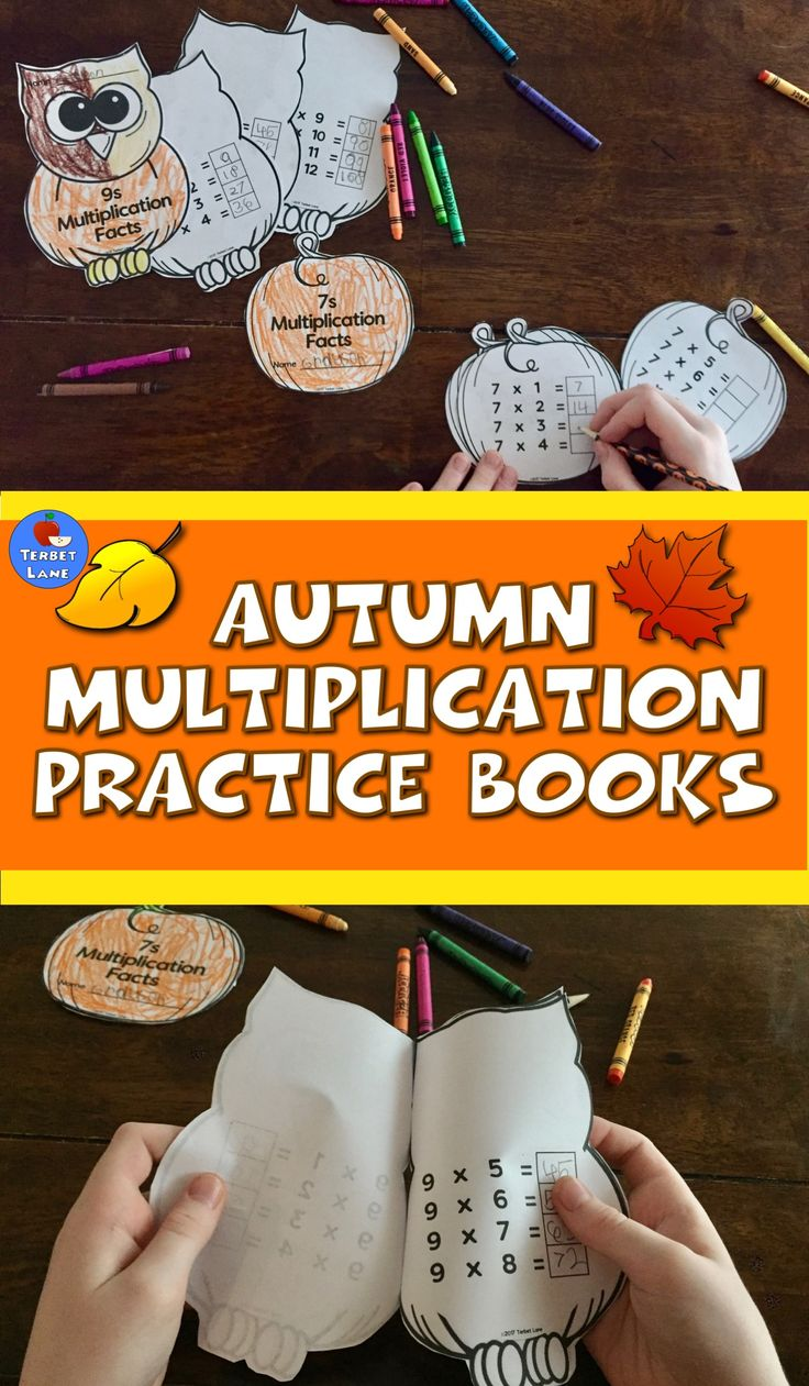 ❈ ❈ Autumn Multiplication Practice Books make learning and reviewing multiplication tables easy and fun! ❈ ❈ Students make their own pumpkin or owl multiplication facts books. Both designs include each fact family 1-12. #autumn #fall #multiplication #pumpkin #owl #math