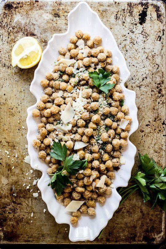 {Parmesan herb backed chickpeas.}