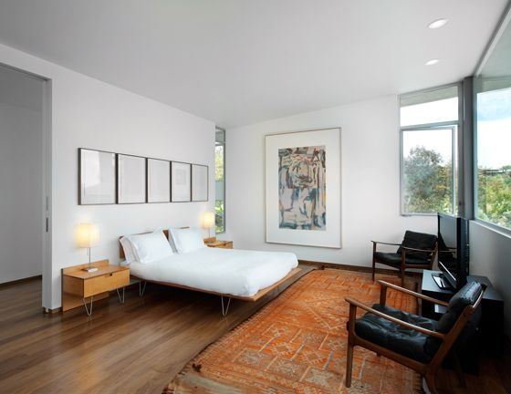 featuring modernica case study v leg bed and bedside table. Black Bedroom Furniture Sets. Home Design Ideas