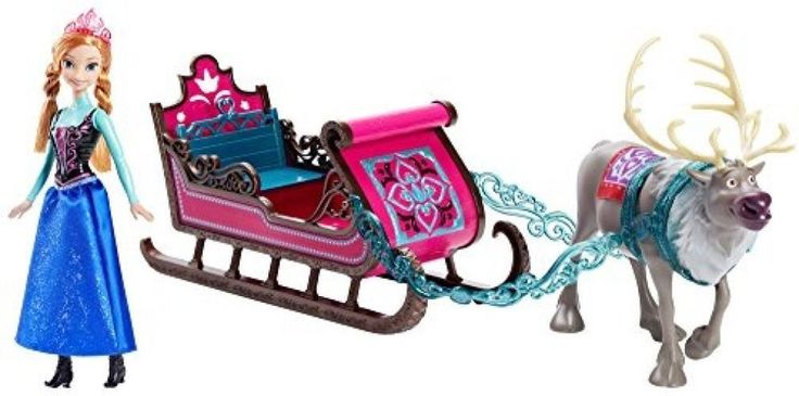 Disney Frozen Anna Doll, Sven And Sleigh Giftset #Mattel