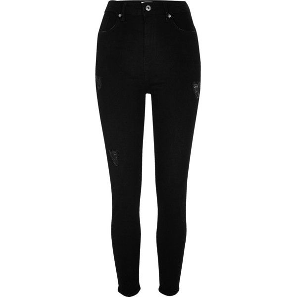 River Island Black Harper high waisted skinny jeans (428975 PYG) ❤ liked on Polyvore featuring jeans, pants, bottoms, calças, black, skinny jeans, women, high waisted distressed skinny jeans, super skinny ripped jeans and high-waisted jeans