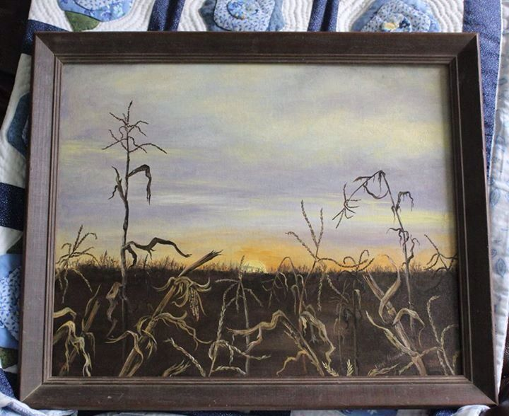 This painting of my dad's corn field, was restored. It's an oil on stretch canvas which was slightly torn and suffered from mildew.