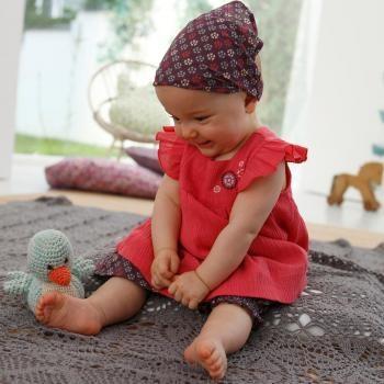 $21 Conjunto cocoon bebé niña - vestido, pantalón bombacho y pañuelo - 100 algodón