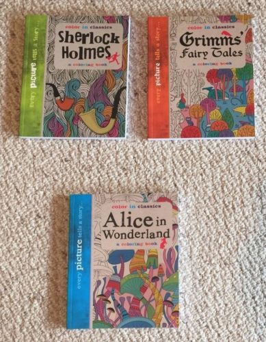 """Lot Of 3 Brand New High Quality Color In Classics   """"Every picture tells a story""""..1 Sherlock Holmes themed with """"a collection of drawings depicting whodunit stories"""" 1 Grimms' Fairy Tales themed with """"a collection of drawings depicting folk tales that   have been enjoyed for generations"""" ,  and  1 Alice in Wonderland themed with   """"a collection of drawings depicting Lewis Carroll's stories"""""""