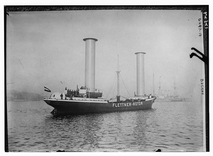 A rotor ship, or Flettner ship, is a ship designed to use the Magnus effect for propulsion. To take advantage of this effect, it uses rotorsails which are powered by an engine. The Magnus effect is a force acting on a spinning body in a moving airstream, which acts perpendicularly to the direction of the airstream. German engineer Anton Flettner was the first to build a ship which attempted to tap this force for propulsion.Bain News Service, publisher, LOC