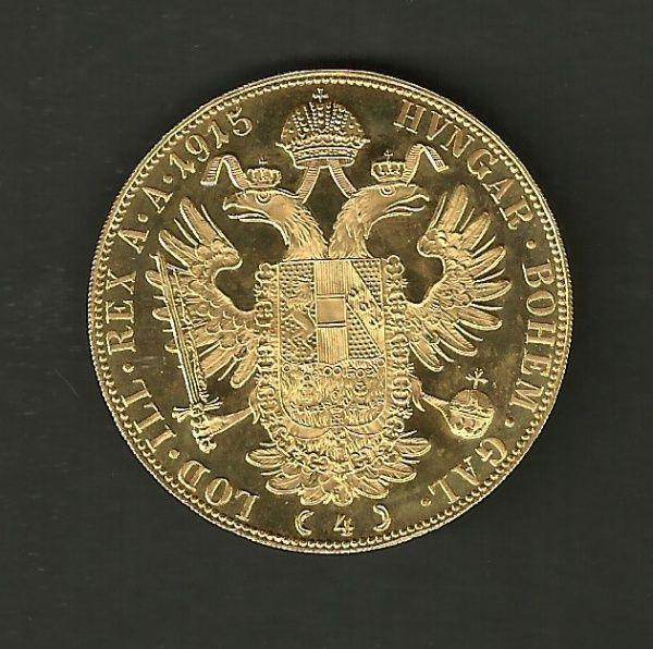 """Moeda de Ouro da Austria de 4 Ducado com 14g de ouro .989 de 1915 """"Proof"""""""