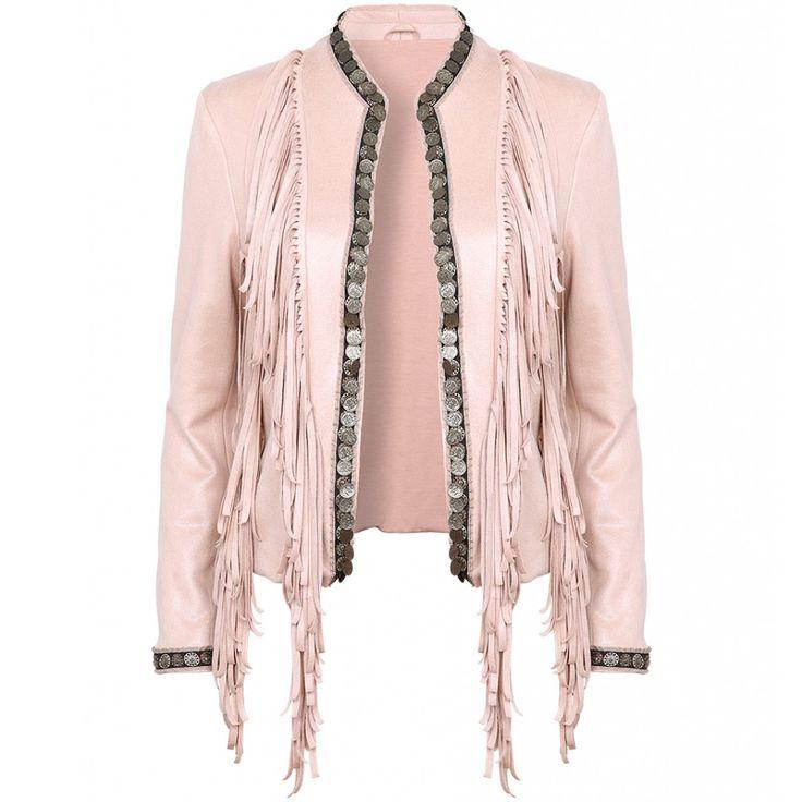 roze jasje met franjes en coins | Fashion Webshop