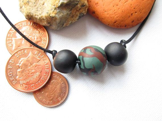 Guys necklace bead necklace for men black and green by Lagneys